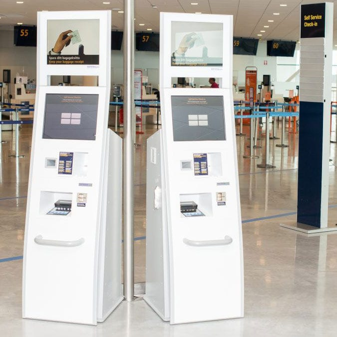 Check In Kiosk With Boarding Pass Reader With Printer Floor