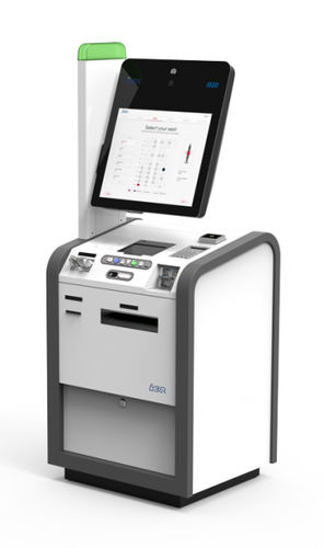 check-in kiosk with CUSS / with boarding pass reader / multi-purpose / with printer