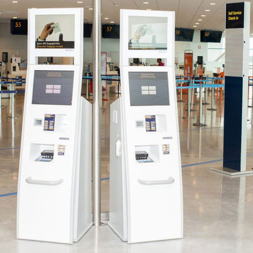 check-in kiosk with boarding pass reader / with printer / floor-standing / for airports