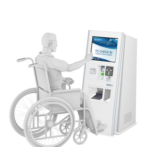 check-in kiosk with boarding pass reader / floor-standing / for airports