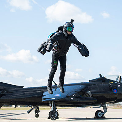 jet pack with rocket propulsion - Gravity