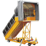 towed passenger boarding stairs / with canopy / electric / for aircraft