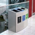 airport waste bin / floor-mounted / recycling