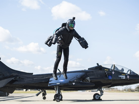 Inventor Richard Browning flies in his jet suit, which consists of five gas turbine engines, two mounted on each arm and one on the back.Gravity Industries