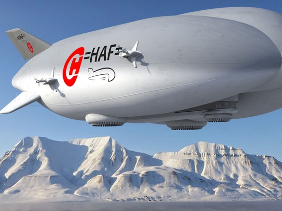 An artist's rendering depicts the Lockheed Martin LMH-1. (Credit: Hybrid Air Freighters)
