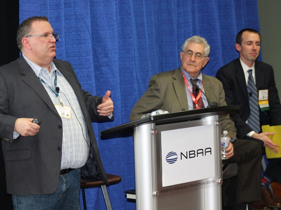 Adam Hohulin, senior vice president of operations at Sentient Jet, speaks at a panel session on the new air charter broker regulation Wednesday at the 2019 NBAA Schedulers & Dispatchers Conference ...