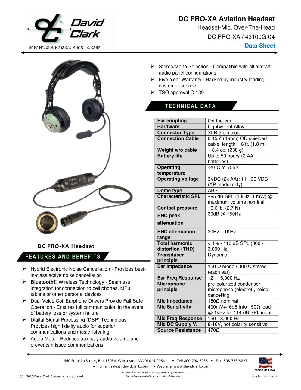 Dc Pro Xa David Clark Company Inc Pdf Catalogue Technical Mono Headset Microphone Jack Wiring 1 Pages