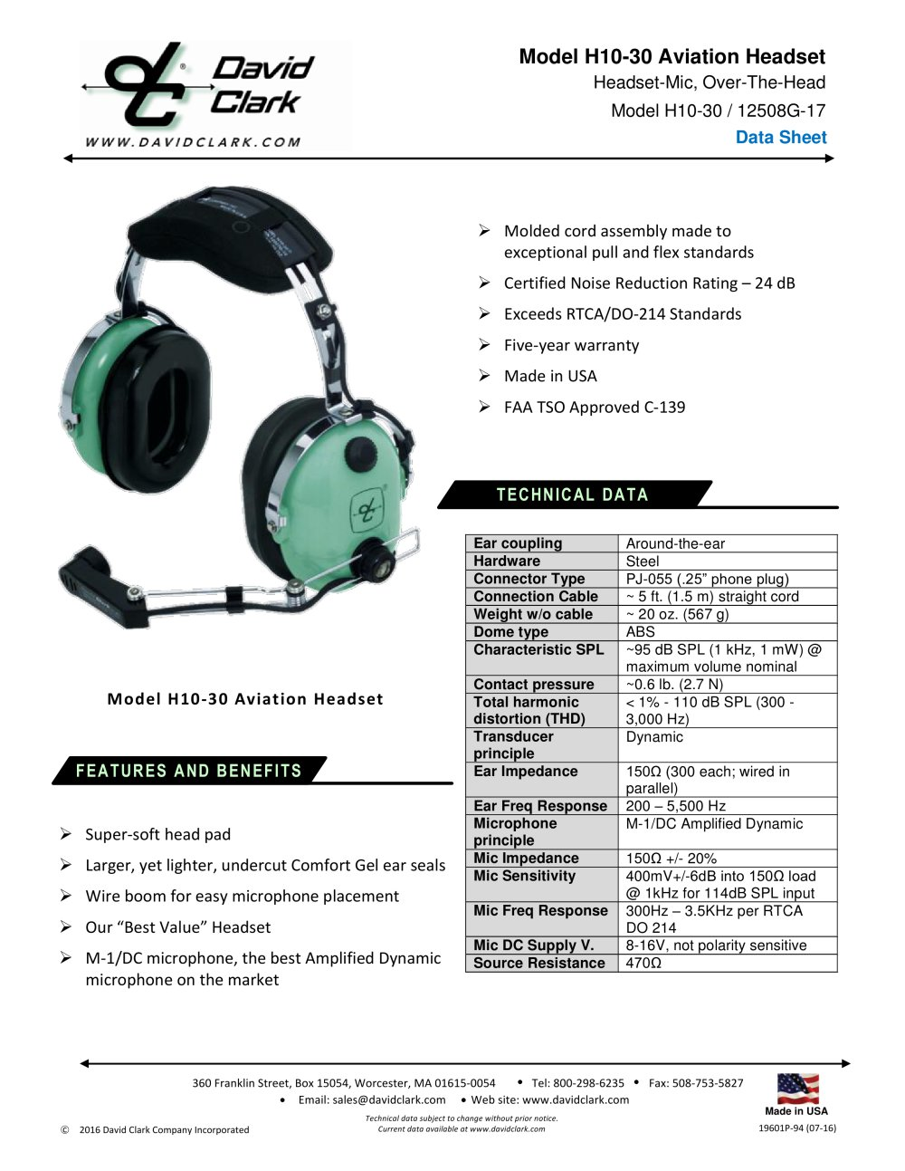 c4875e9ea3f H10-30 - DAVID CLARK COMPANY INC. - PDF Catalogs