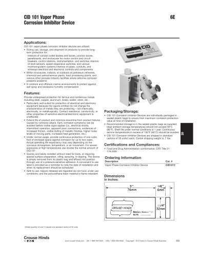 Enclosure Accessories - Corrosion Inhibitor Device