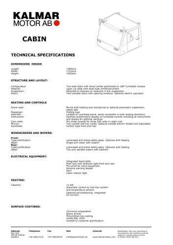 CABIN TECHNICAL SPECIFICATIONS