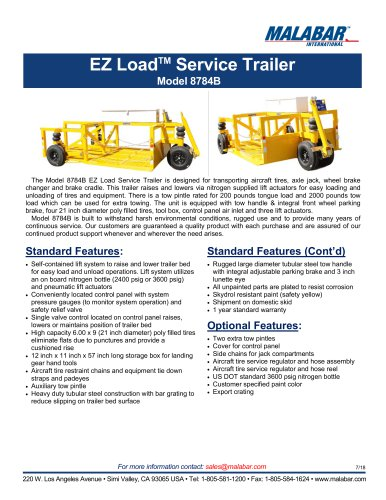 EZ LoadTM Service Trailer Model 8784B