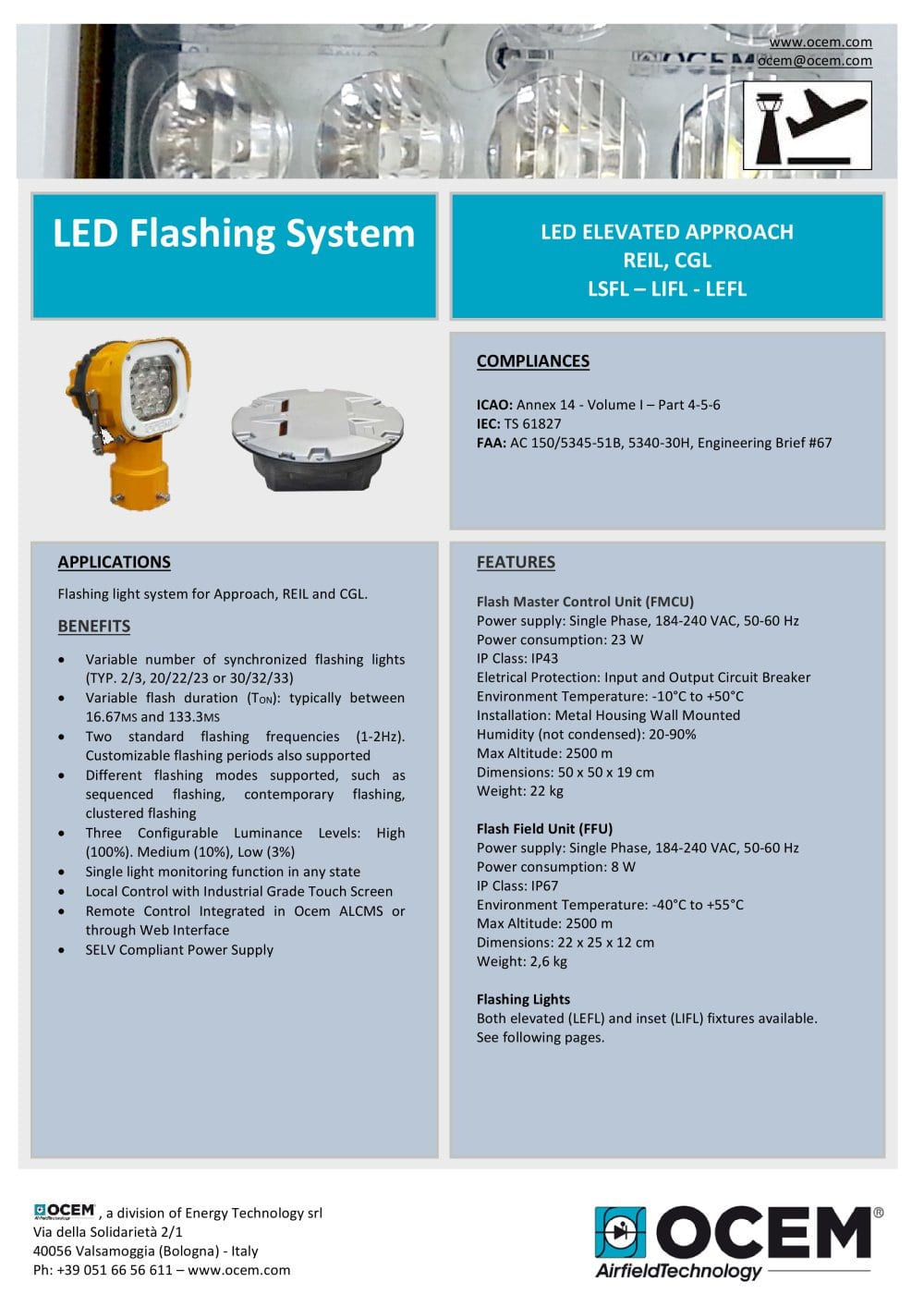 Led Flashing System Ocem Airfield Lighting Pdf Catalogue Light Circuit 1 8 Pages