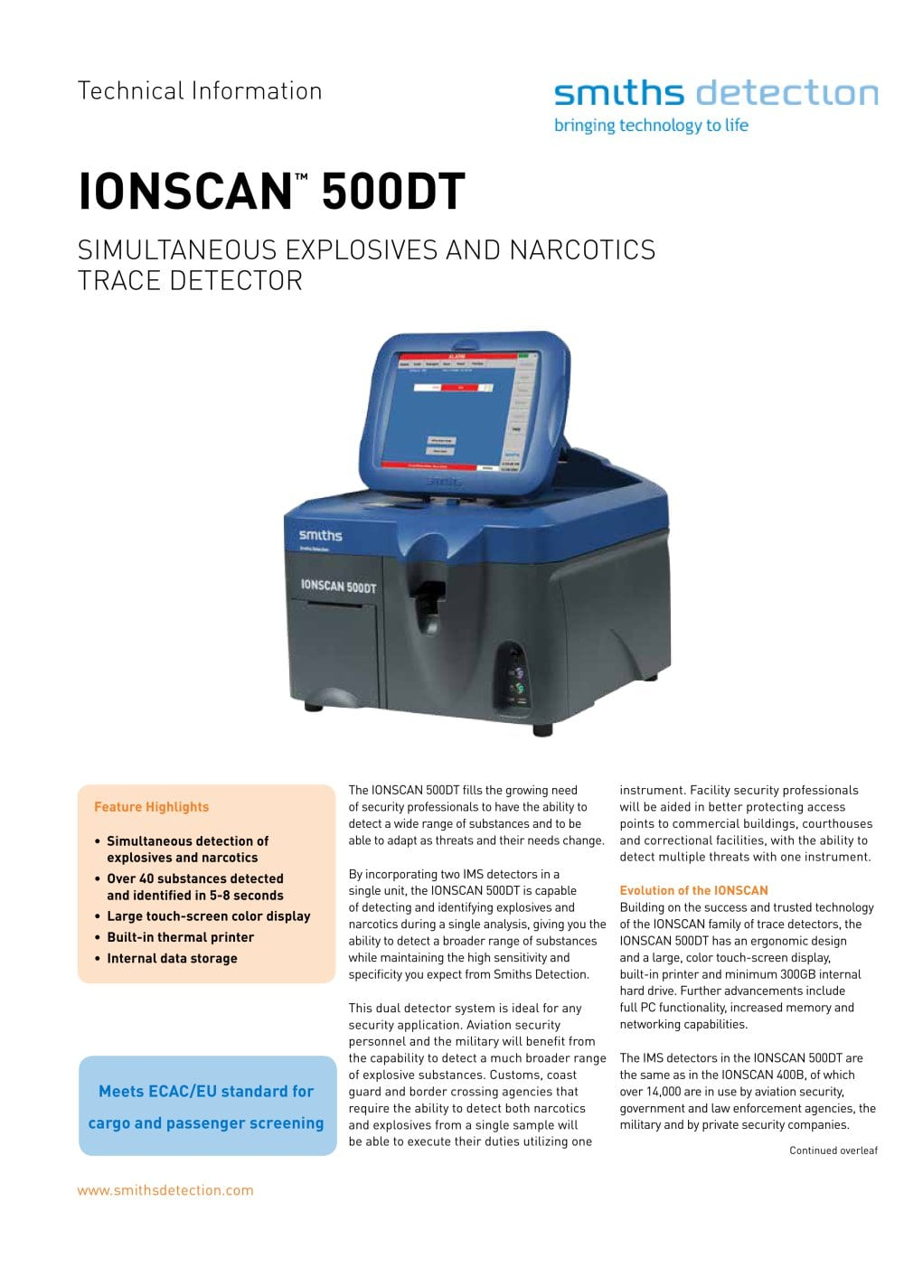 ionscan 500dt smiths detection pdf catalogue technical rh pdf aeroexpo online Ions Can ionscan 500dt user manual