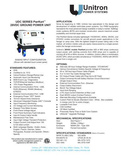 UDC SERIES PwrKart™ 28VDC GROUND POWER UNIT