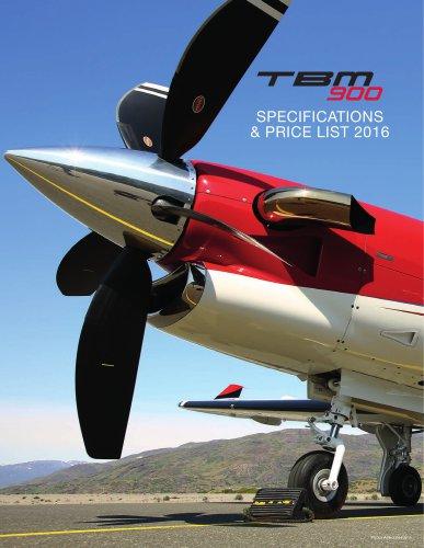 2016 TBM-900 SpecsPriceList