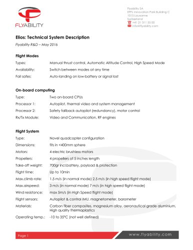 Elios Technical Specifications