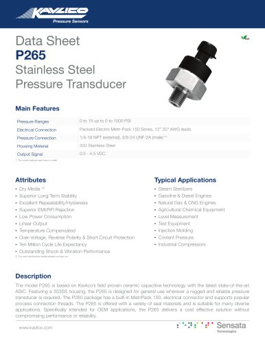 P265 Stainless Steel Pressure Transducer