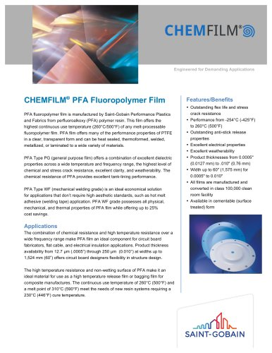 CHEMFILM® PFA Fluoropolymer Film