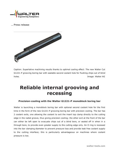 Precision-cooling with the Walter G1221-P monoblock boring bar