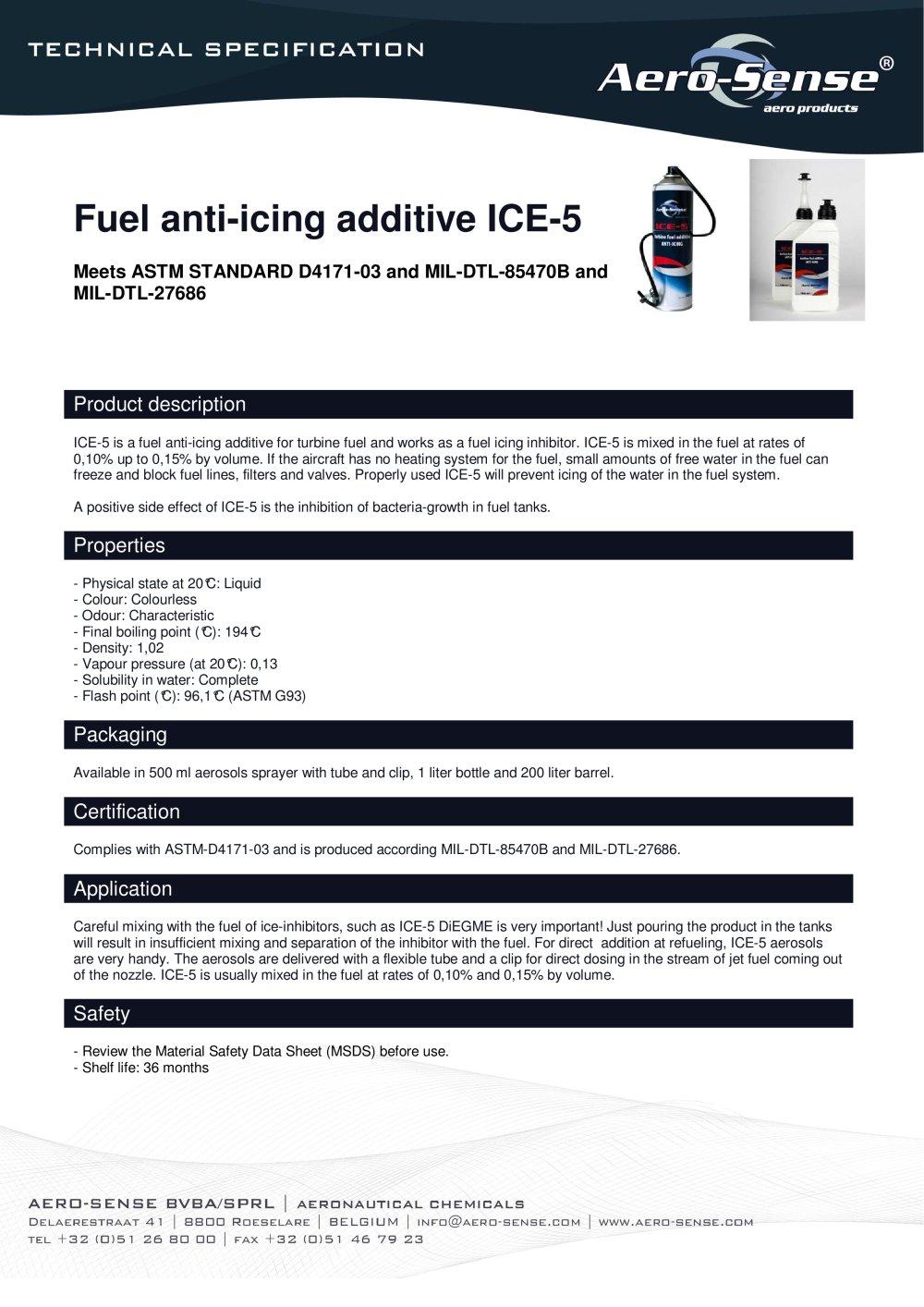 Fuel Anti Icing Additive Ice 5 Aero Sense Pdf Catalogue