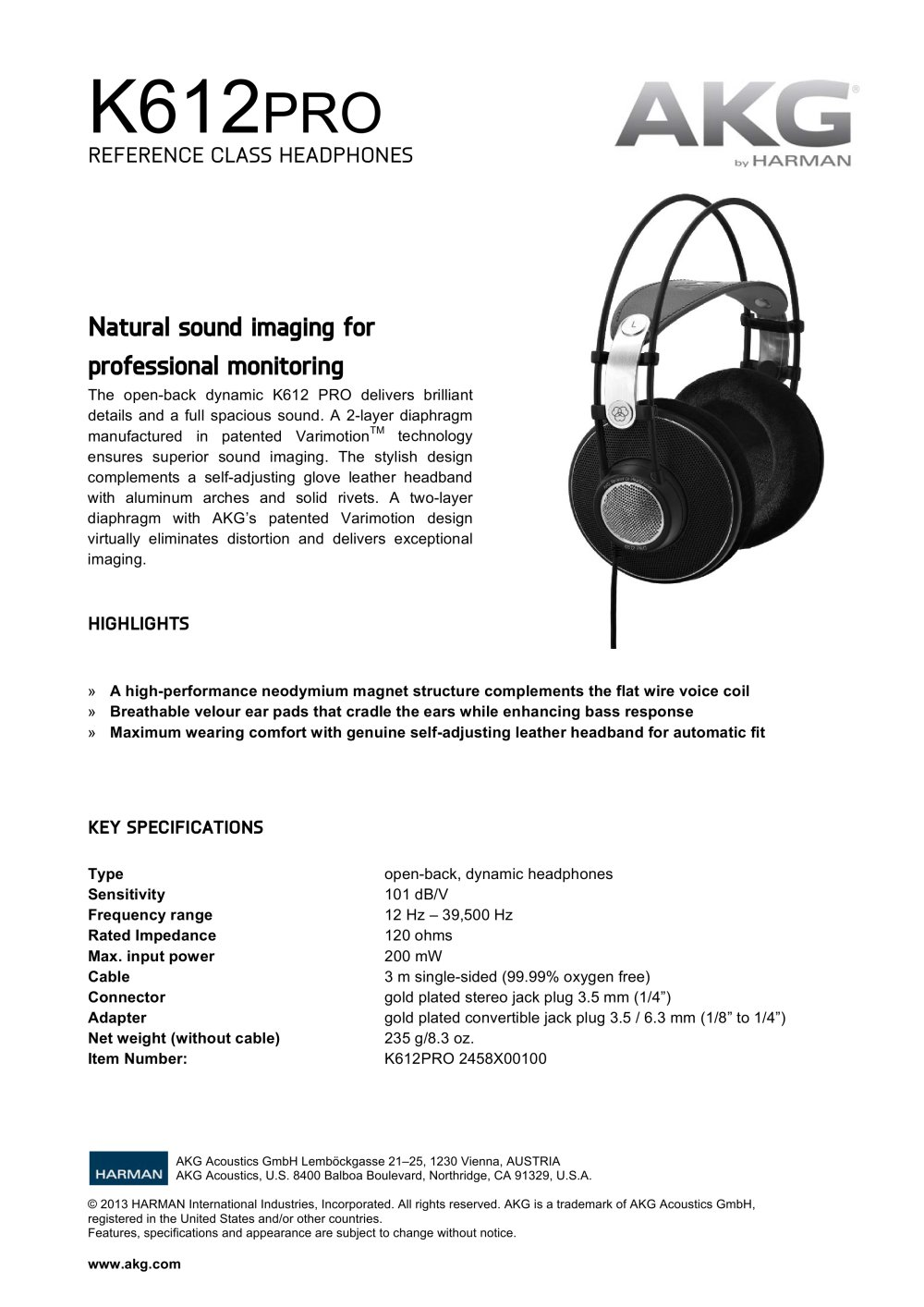K612 PRO - AKG by Harman - PDF Catalogue | Technical Documentation ...