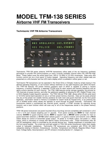 MODEL TFM-138 SERIES