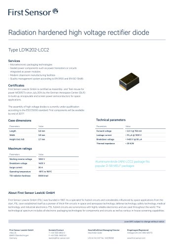 Radiation hardened high-voltage rectifier diode