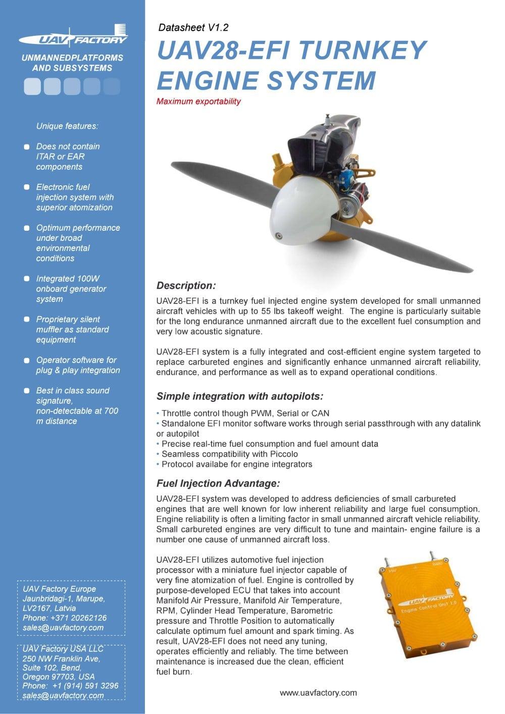 UAV28-EFI TURNKEY ENGINE SYSTEM - UAV Factory Ltd. Europe - PDF ...