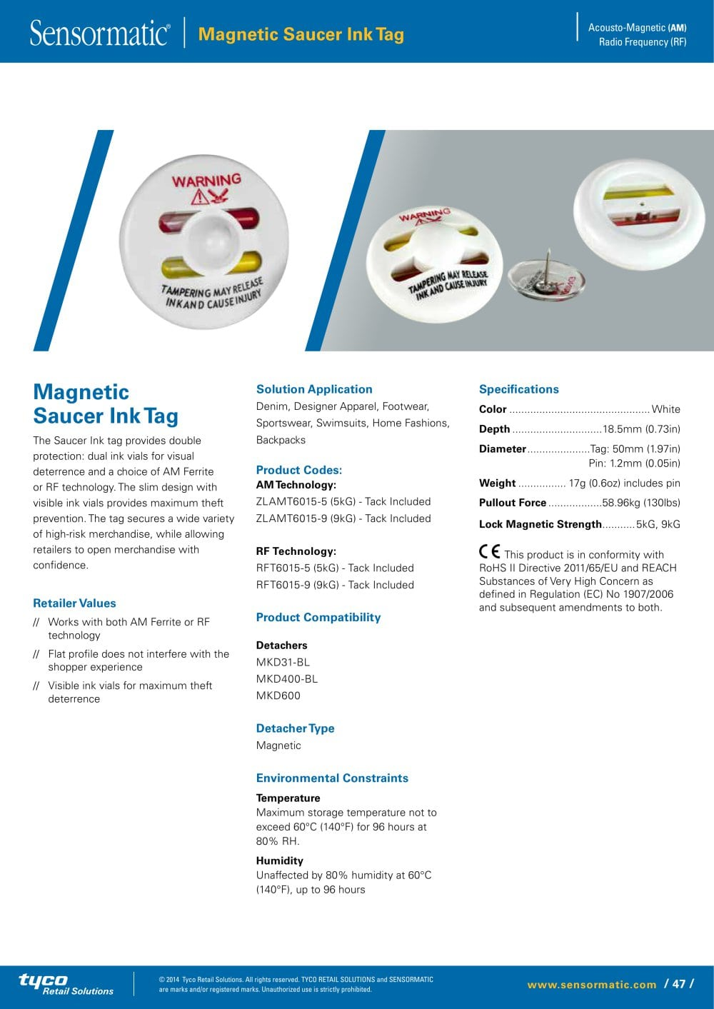 ec9683478e60 Magnetic Saucer Ink Tag - Sensormatic - PDF Catalogs