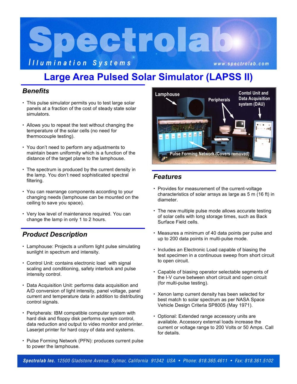 Large Area Pulsed Solar Simulation Spectrolab Inc Pdf Catalogs Short Circuit Test Open And 1 2 Pages