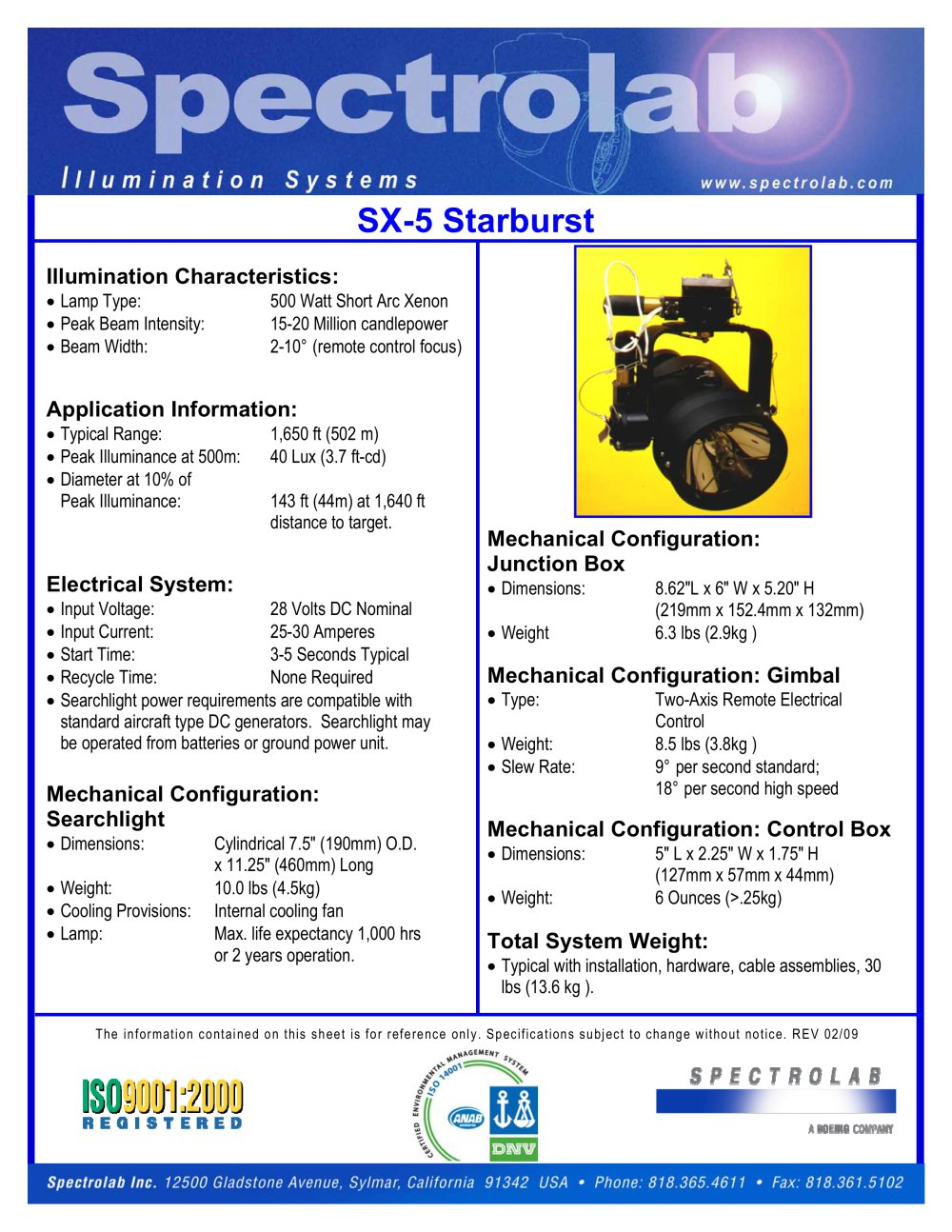 Sx 5 Starburst Spectrolab Inc Pdf Catalogue Technical Types Of Dc Generators 1 Pages