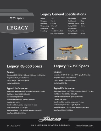 Legacy General Specifications