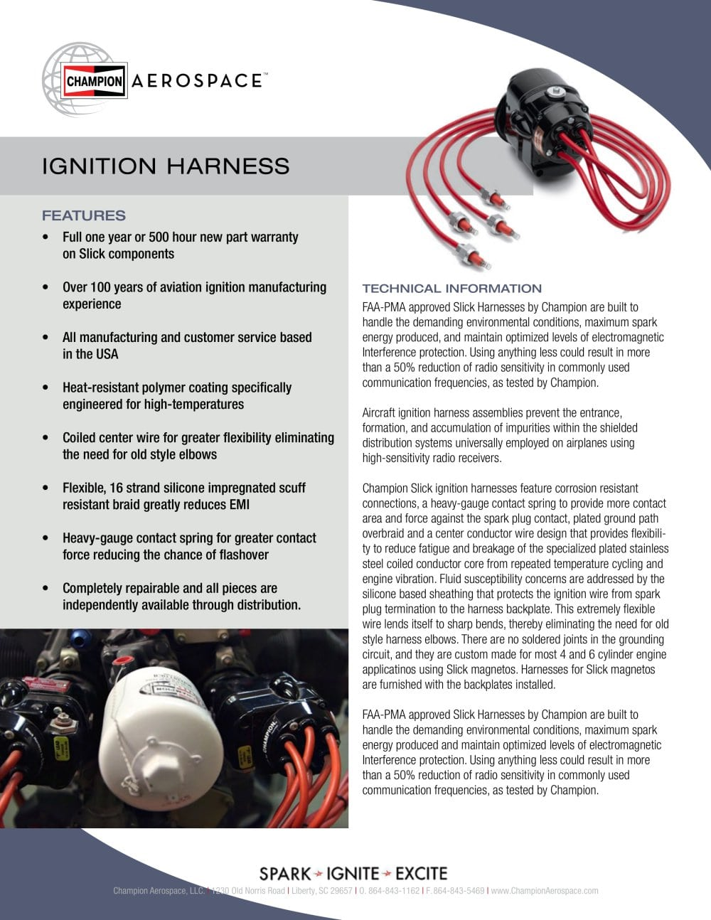 Ignition Harness Champion Aerospace Llc Pdf Catalogue Wire Assembly Image 1 Pages