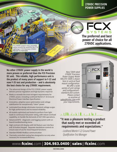 270VDC PRECISION POWER SUPPLIES