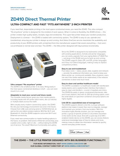 ZD410 Direct Thermal Printer