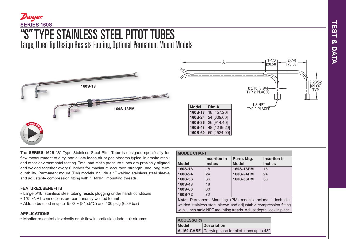 S Type Stainless Steel Pitot Tubes Dwyer Pdf Catalogue