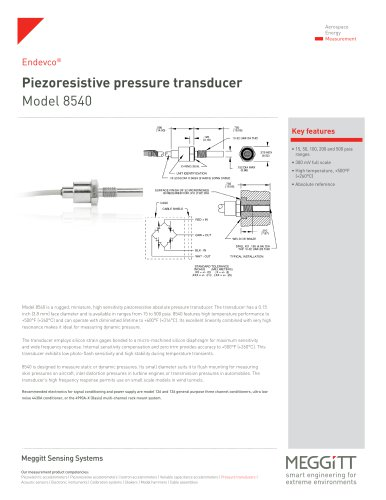 Piezoresistive pressure transducer Model 8540 - Endevco