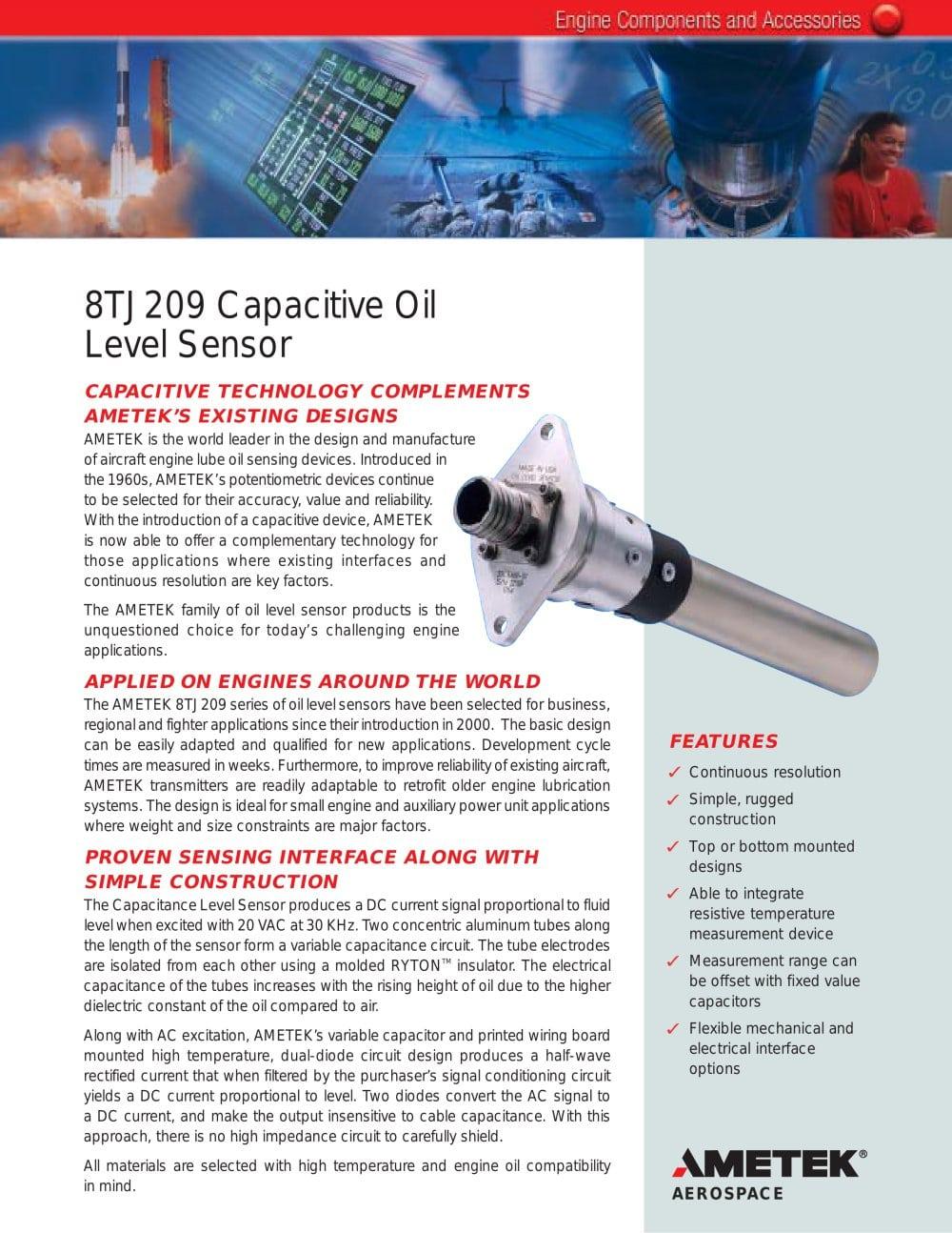 8tj209 Capacitive Oil Level Sensor Ametek Fluid Management Systems 1 2 Pages