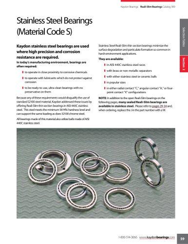 Reali-Slim® open bearings, stainless steel