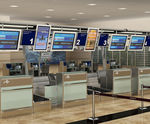 balcão de check-in / para controle de alfândega / para aeroporto