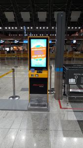 sistema de autofacturación de equipaje auto servicio / con lector RFID / con sistema de pago con tarjeta / con impresora