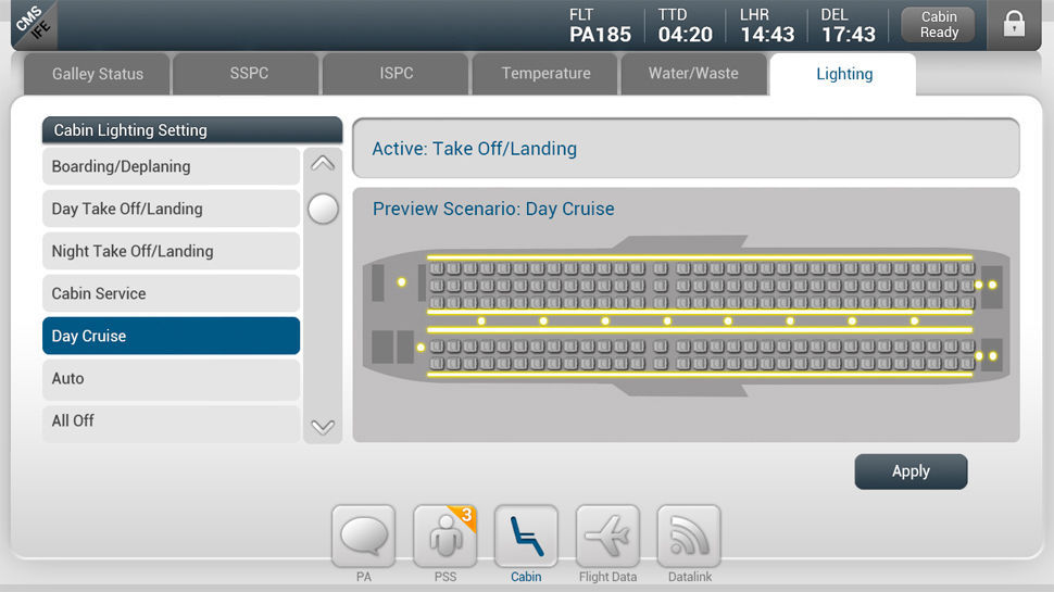 Aircraft Cabin Management System With Inflight