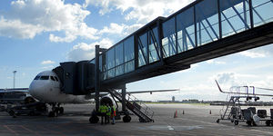 passenger boarding bridge / removable / with window walls / for A380