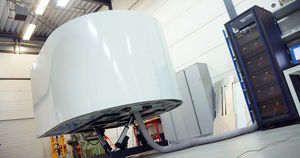 flight simulator / training / with enclosed cockpit / cylinder-mounted