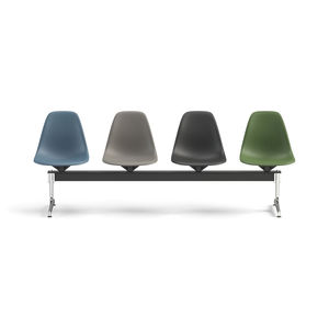 airport beam chairs / 4-seater / leather / plastic