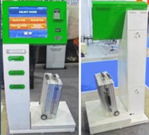 check-in kiosk with boarding pass reader / with printer / with passport reader / with barcode reader