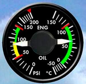 pressure gauge / temperature / analog / engine