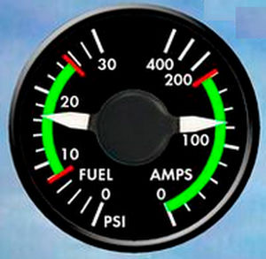pressure gauge / analog / fuel / for aircrafts