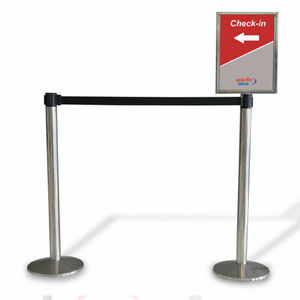 tape guidance barrier / for airports / flat-head / with advertising panel