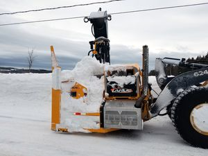 backhoe loader-mounted snow blower / for airports
